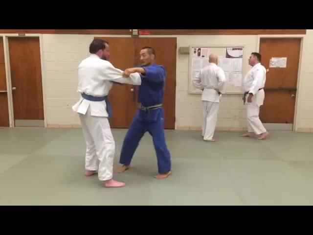 Hiza guruma to Ashi guruma combo with Sensei Suldbayar Sugi Damdin 7/16/15 Arlington Judo Club