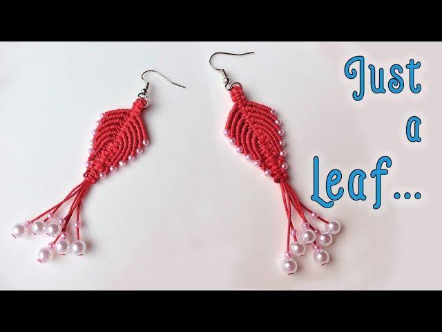 Macrame earrings tutorial: The phoenix leaf jewelry set - hướng dẫn thắt hoa tai hình chiếc lá