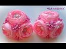 Цветы из лент Kanzashi flower tutorial Wedding hair accessoire Ola ameS DIY