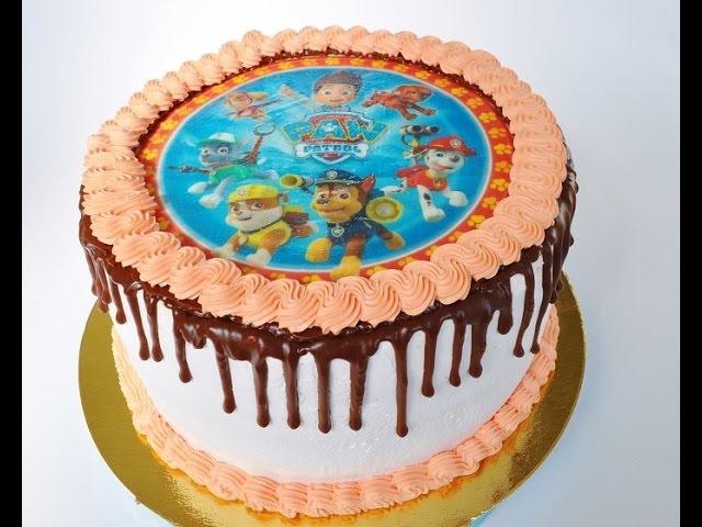 Как наложить вафельную картинку на торт Торт Щенячий патруль