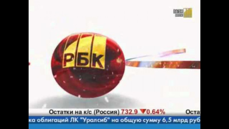 Конец Диалога, реклама, анонс, поздравление, часы и начало новостей (РБК, 26.12.2008)