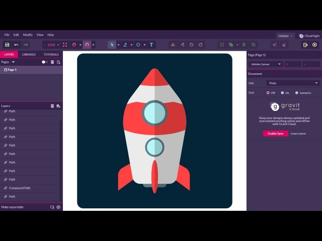 Rocket Ship Flat Icon | Gravit Designer Tutorial for Beginner