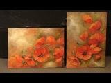 Маки на оливковом фоне. Poppies on olive background. Workshop. Уроки живописи маслом в Москве