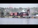 Паромно мостовая переправа через Волгу в Ярославле с паровозом Эу 683 89