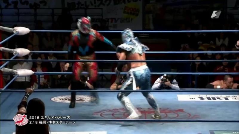Black Tiger KAZMA SAKAMOTO Koji Shinizumi vs Último Dragón Mineo Fujita KING AJPW Excite Series 2018 Day 4