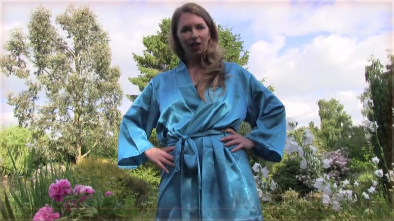Woman in blue satin long robe