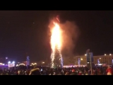 В Южно-Сахалинске сгорела главная городская новогодняя елка