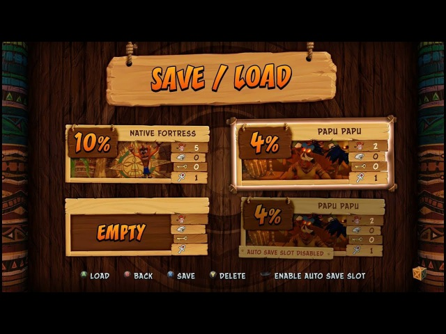 Crash Bandicoot N. Sane Trilogy Save Load Screens (Xbox Prompts)
