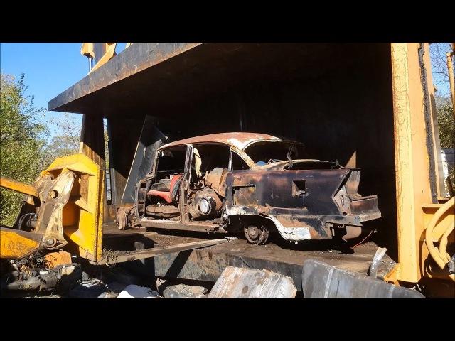 Car crusher crushing cars 41 1955 buick super