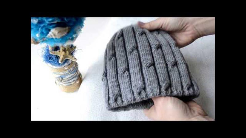 Двойная зимняя шапка косы. Машинное вязание. ludmila_borodina