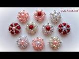 Канзаши Серединки для канзаши своими руками Мастер Класс Kanzashi Flower tutorial Ola ameS DIY