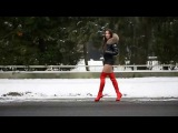 Julie in snow with miniskirt and red high heels overknee 16cm boots 2