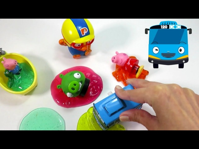 Pororo the Little Penguin 뽀롱뽀롱 뽀로로 and Tayo the Little Bus in colorful slime