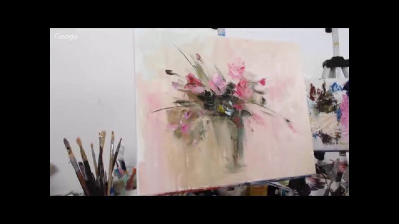 Розовый букет - бесплатный онлайн МК по живописи маслом