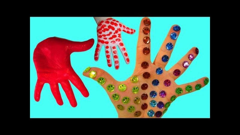 Развивающее видео Учим цвета Пальчиковые краски Красим ручки Смайлики Поем пес ...