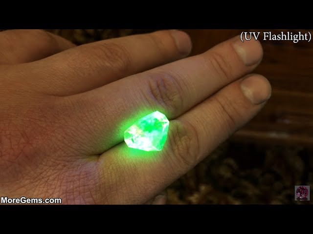 Glowing Gemstones Faceting Hyalite Opal
