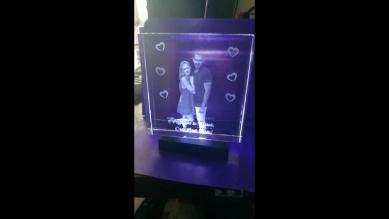 Кристалл 15*15*3 с гравировкой фотографии внутри стекла. Фото в стекле