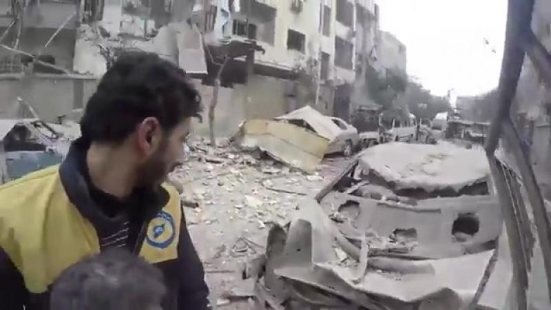 Последствия бомбардировки Думы в Восточной Гуте.