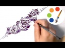 Flower pattern, Cómo dibujar una flor de adorno, Цветочный орнамент, irishkalia
