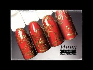 Золотой дизайн на красном фоне. Шикарный и простой дизайн ногтей