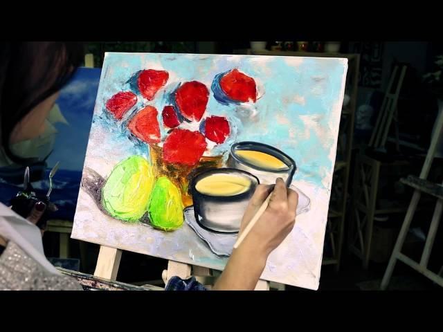 УРОКИ ЖИВОПИСИ и РИСОВАНИЯ Лилии Степановой/ Oil Painting - Poppies.