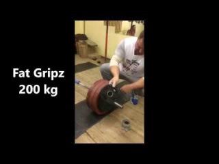 Alexey Tyukalov 195kg and 200kg Fat Gripz