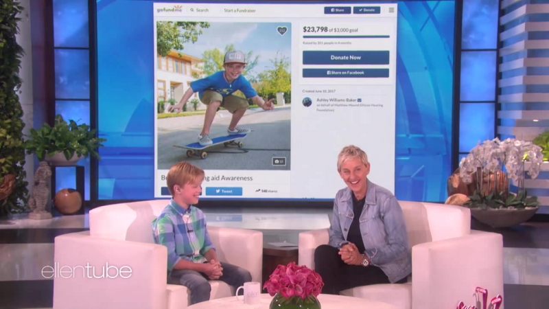 Ellen Meets a 10-Year-Old Raising Money for Hearing Impaired RUS SUB