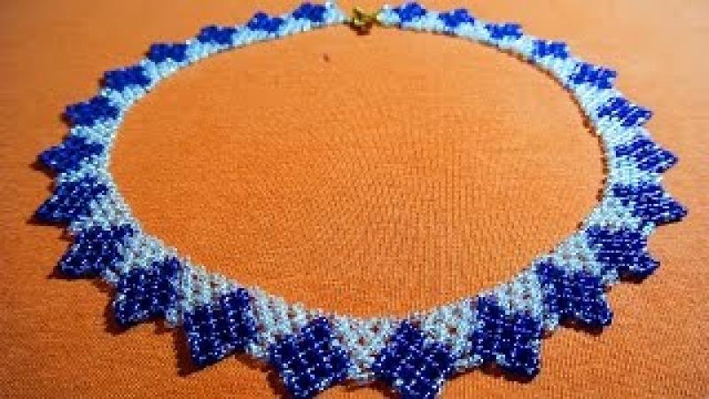Красивое колье из бисера и бусин!DIY Necklace from beads!?
