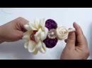 Flor petalo Doble y Botón de Flor con cinta zigzag