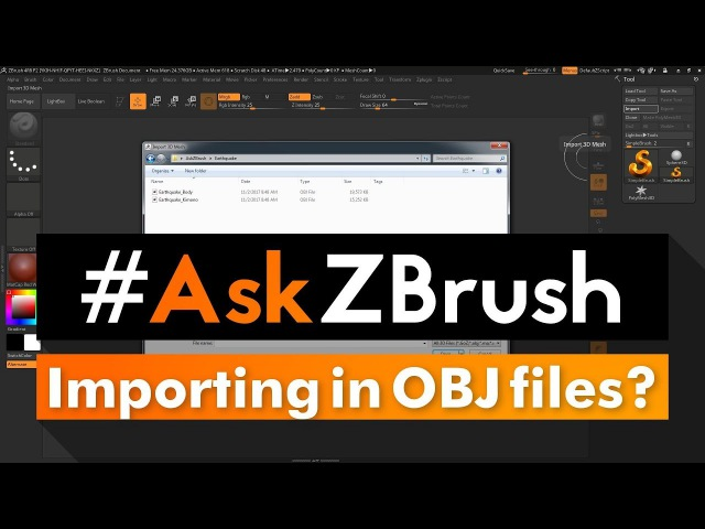 """AskZBrush: """"What are the steps to import in two OBJ files and create a single tool?"""""""
