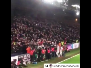 Absolute scenes in the away end when the winner went in
