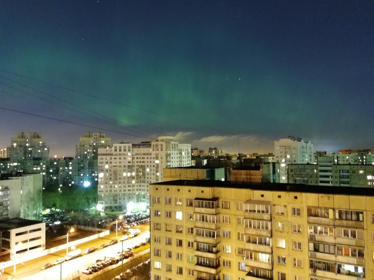 Над Петербургом 7ноября наблюдали яркое полярное сияние