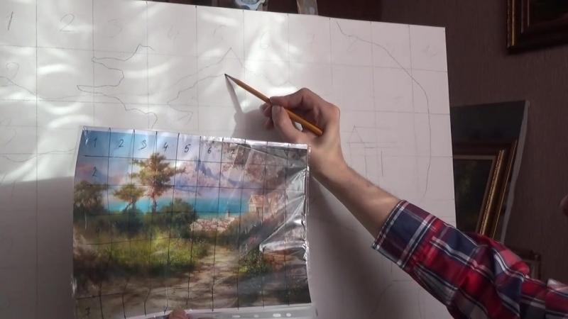 Перенос контуров рисунка на холст для работы Город у моря