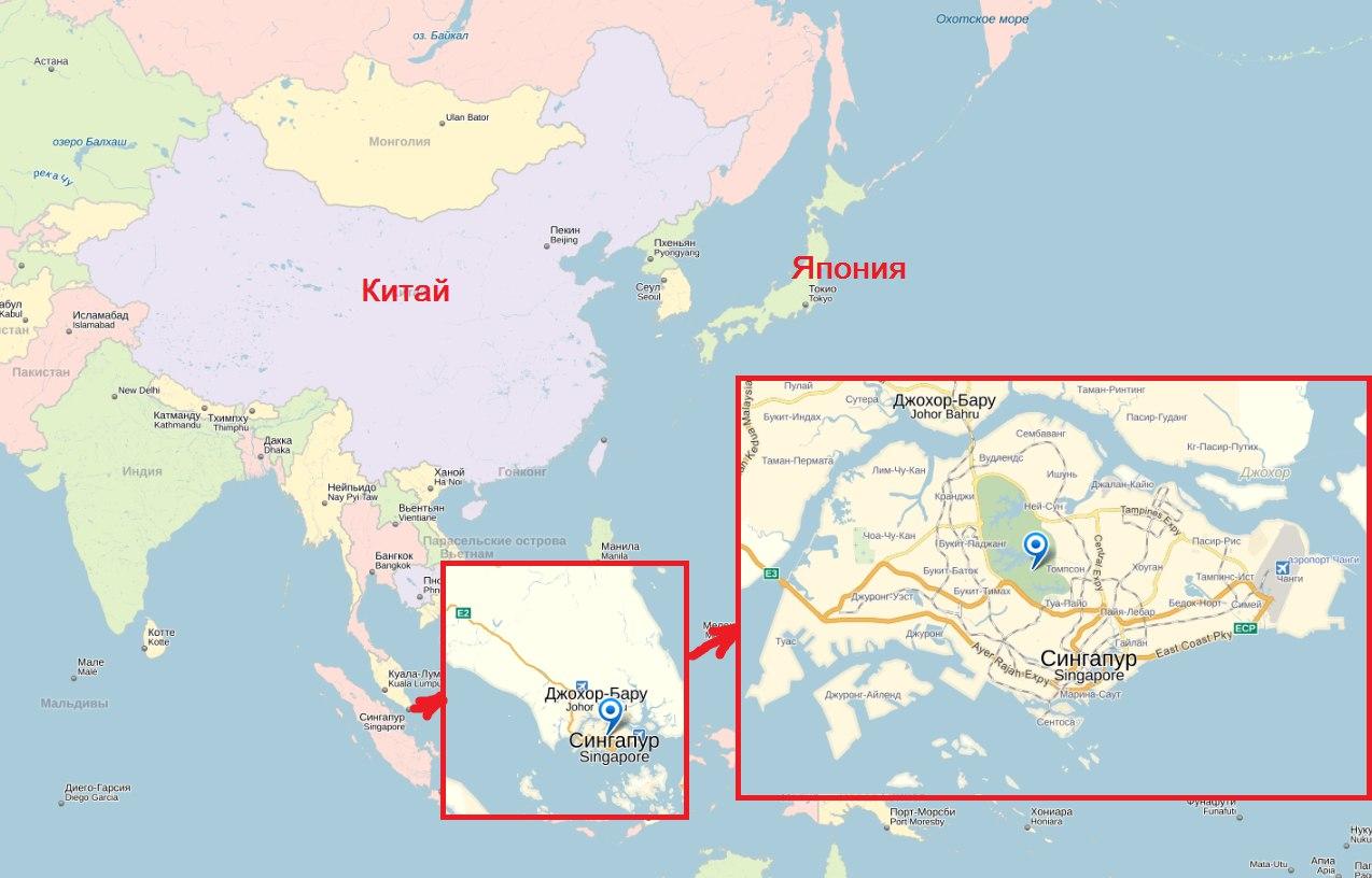 Сингапур на карте мира показать фото