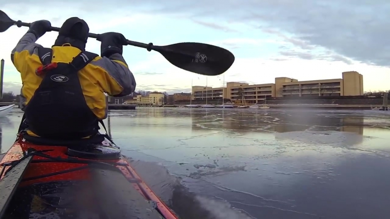 Winter Sea Kayaking Breaking Through Ice