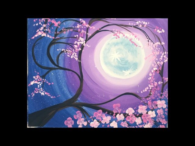Step By Step Painting - Cherry Blossom Tree Moon