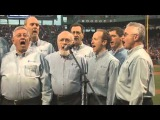 Blue of A Kind sing Star Spangled Banner at Fenway Park