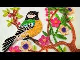 Paper art Quilling Wall Decorations Quilling bird sitting on Tree Paper Quilling Art