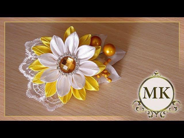 Заколка-автомат. Цветок. Канзаши. МК./ DIY. Ribbon flowers. Hairclip. Kanzashi.