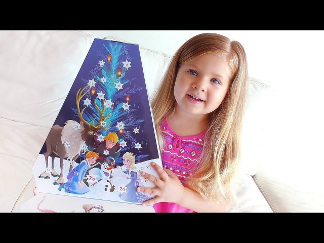 Diana Opens Advent Calendar Olaf's Frozen Adventure with fun Surprise toys for kids video