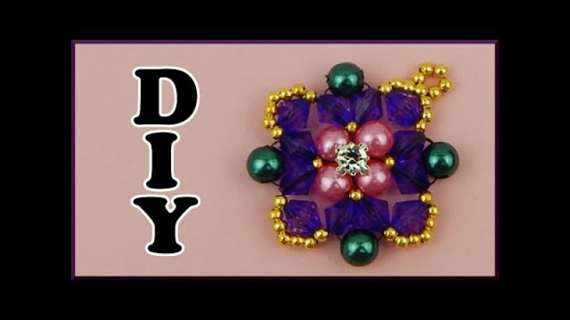 DIY Pelen Ketten Anhänger fädeln Beaded pearl and bicone necklace pendant Beadwork