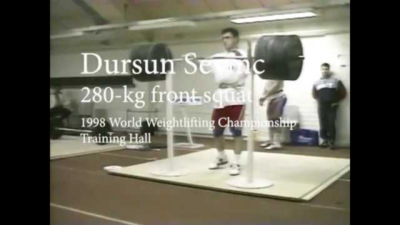 Dursun Sevinc 280 kg front squat: 1998 World Weightlifting Championships