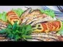 Баклажаны запеченные веером в духовке с помидорами сыром и беконом Вкусная го