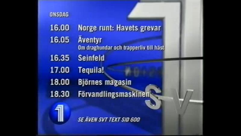 Анонс, диктор, программа передач и переход вещания (SVT1/UR [Швеция], 14.04.1998)