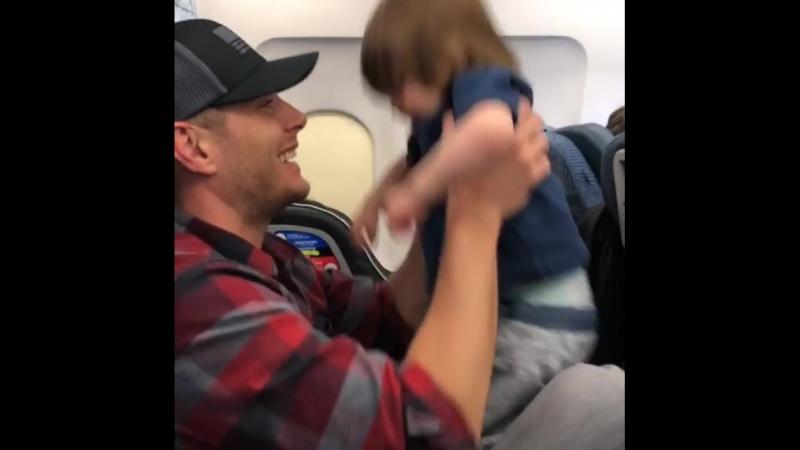 Дженсен играет с Зепом в самолете (из Инстаграма Дэннил)
