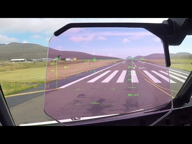 A RARe Approach filmed through the Head up display of an AIRBUS