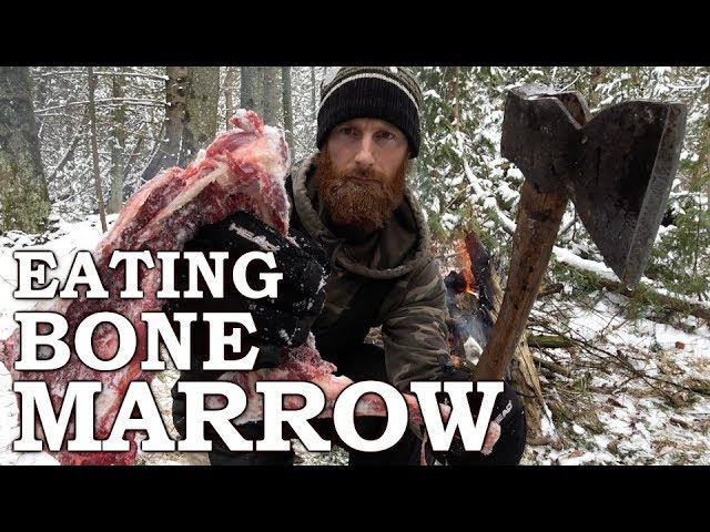 Eating BONE MARROW like CAVEMAN in the FOREST | 100-YEAR-OLD AXE | Bow Drill Fire From Scratch