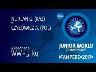 Repechage WW - 51 kg: A. CZYZOWICZ (POL) df. G. NURLAN (KAZ) by VPO, 6-0