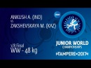 1/8 WW - 48 kg M. ZAKSHEVSKAYA KAZ df. A. ANKUSH IND by VPO1, 3-2
