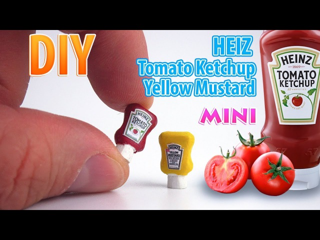 DIY Miniature Heinz Ketchup and Mustard | DollHouse | No Polymer Clay!